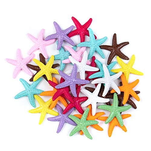 AUEAR, 30 Pcs Lovely Starfish Decor Pencil Finger Resin Starfish for Wedding Party Crafts and Home Decoration (Mix Colors)