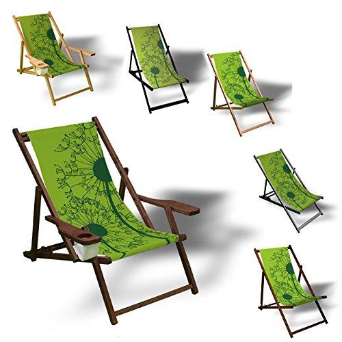 Printalio - Pusteblume Grün - Liegestuhl Bedruckt Balkon Garten Sonnenliege Relax Holz Terrasse | mit Armlehne, Dunkelbraun