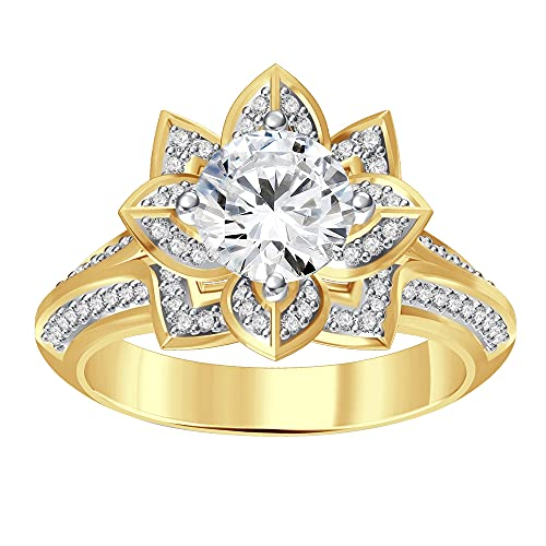 Anillo de compromiso de oro amarillo de 14 quilates chapado en plata 925 de 1.00 quilates con forma redonda D/VVS1 diamantes de loto para mujeres y niñas