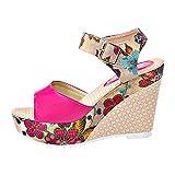 Nevera Women's Shoes Fish Mouth Espadrille Platform High Heels Wedges Sandals Hot Pink