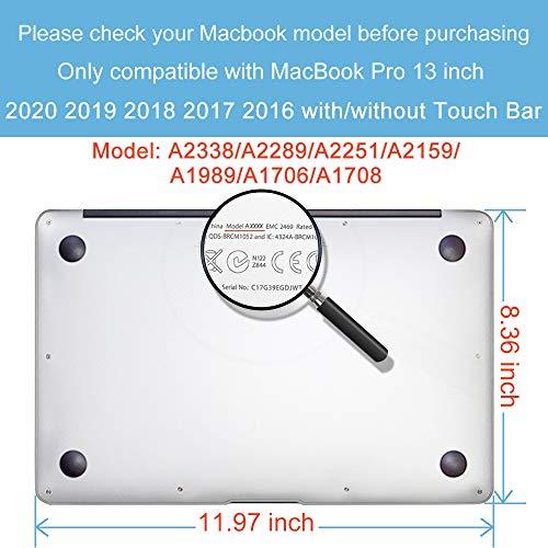 Belk Hülle Kompatibel mit MacBook Pro 13 Zoll 2020-2016 Freisetzung A2338 M1 A2289 A2251 A2159 A1989 A1706 A1708 mit/ohne Touch Bar, Dünne Glatt Plastik Hartschale Schutzhülle Case & Tastaturschutz