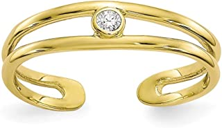 2A 4mm 10K circonitas cúbicas para dedo del pie anillo–mayor grado de oro que 9ct oro