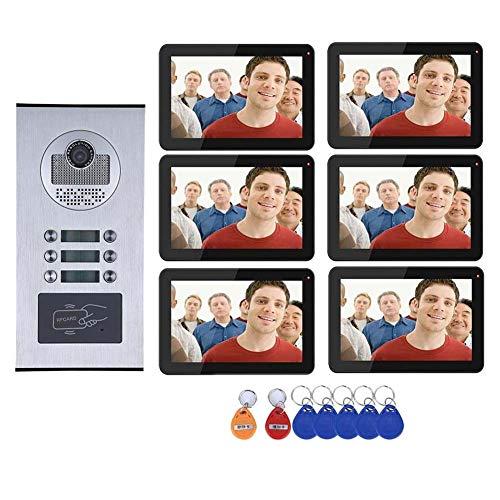 Timbre de puerta con vídeo WiFi, resistente al agua, interfono inalámbrico, 6 monitores de 9 pulgadas + cámara RFID IR-CUT HD con botón