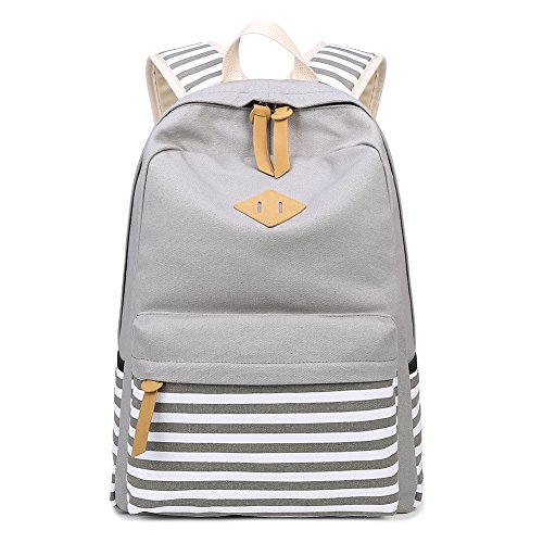 Abshoo Causal Canvas Stripe Backpack Cute Lightweight Teen Backpacks For Girls School Bookbag (Grey)