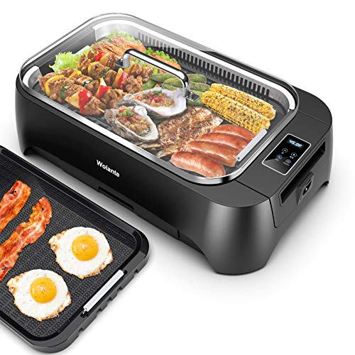 Smokeless indoor Grill 1500W Electric Grill Griddle, Wolante Interchangeable Non-stick BBQ Grill Griddle with Turbo Smoke Extractor Technology, 4D Trap Heat Technology ,Drip Tray& Removable Plate,Dishwasher-Safe