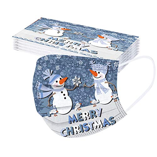 Erwachsene 20 Stücke Einweg Mundschutz Mund Nasenschutz Mit Weihnachten Motive 3 Lagig Atmungsaktive Mund-Tuch Bandana Halstuch Schals für Damen Männer (Color 23)