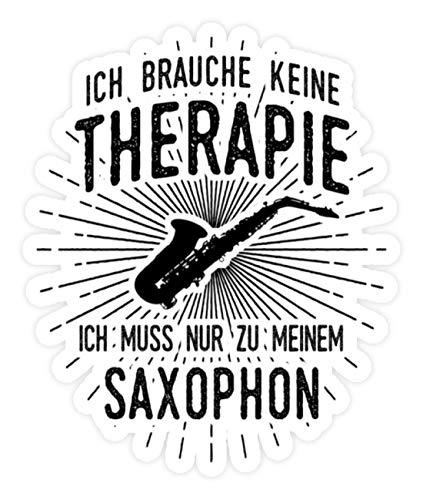 shirt-o-magic Aufkleber Saxophonspieler: Therapie? Lieber Saxophon - Sticker - 5x5cm - Weiß