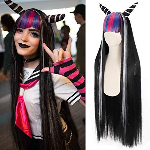 Abbycavally Perücke Schwarz für Ibuki Mioda mit Pony Mehrfarbig Cosplay Lang Glatt Synthetische Perücken für Mädchen Anime Kostüm-Party mit Haarschmuck AL002