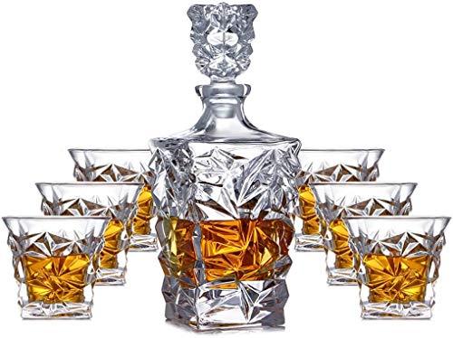 Decanters Mit, Whisky/Brandy/Sherry Dekanter, Bleikristallglas Whisky Karaffen, Spirituosen-Flasche mit Wine Stoppers, Tag Geschenke für Ehemänner/Dad (7-teilig)