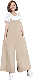 b734f180bd0e B2keevin Women s Sleeveless Loose Cotton Linen Long Wide Legs Jumpsuit  Party Jumpsuit