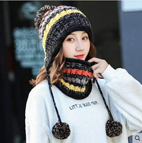 MYYLFF Bonnet Tricoté,en Hiver Hat Et Circle Foulard pour Les Femmes,Les Femmes Noires Hat Foulard Pom Pom Beanie Hat Options De Couleurs