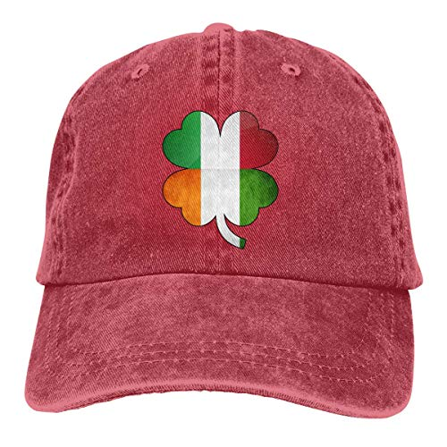 Hoswee Gorra de Béisbol Ajustable Mens Womens Baseball Cap Irish Italian Flag Washed Denim Trucker Hat for Men