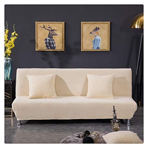 Elastisch Sofabezug ohne armlehnen Klappsofa Überwürfe Sofabezug Elastische voll zusammenklappbare Couch Sofa Schild passt zusammenklappbare Sofa-Bett ohne Armlehnen,Beigegelb,3 Sitzer(190-225CM)