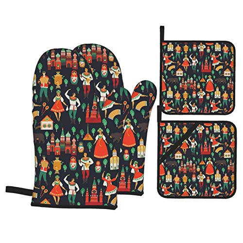Russian Sights and Folk Art Oven Mitts and Pot Holders Sets for Kitchen - Heat Resistant Oven Gloves - Set of 4
