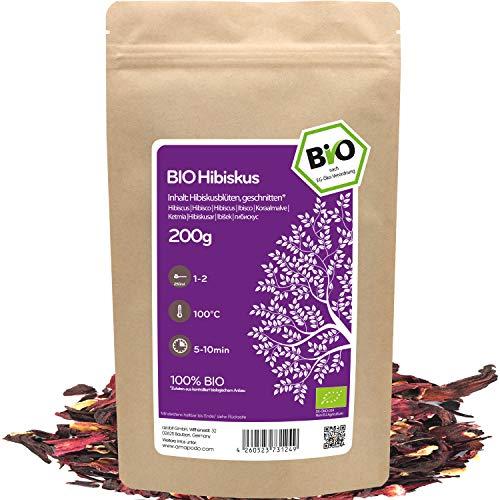 amapodo - Hibiskustee Bio 200g - Hibiskusblüten - Hibiskus Tee - Hibiskusblütentee - Malventee - Malvenblüten - Hibiscus Tea - Hibiscus sabdariffa - kleine Geschenke für Frauen & Männer
