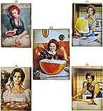 KUSTOM ART Juego de 5 cuadros de estilo vintage con los famosos actores, Sofia Loren en la cocina, impresión sobre madera, para decoración de restaurantes, pizzerías, bares, hoteles, etc.