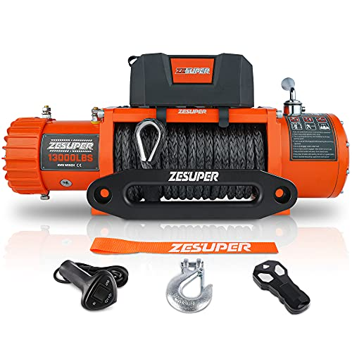 ZESUPER 12V 13000lbs Load Capacity Electric Winch Truck Winch Kit Synthetic Rope, Waterproof Off Road Winch for Truck,SUV with Wirless Remote and Corded Control(13000-Rope)