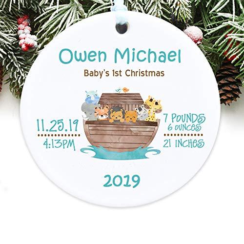 Toll2452 Adorno de Navidad para bebé con el arca de Noé, adorno de Navidad personalizado para la primera Navidad del bebé (2)