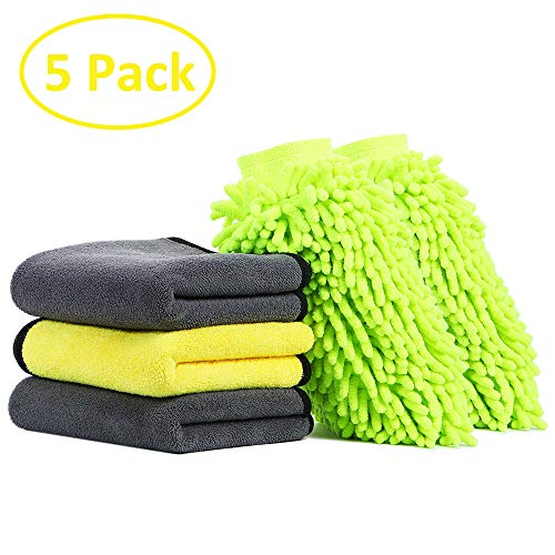 5 Pack Microfiber Car Wash Kit, Villsure Premium Chenille Microfiber Wash Mitts and Microfiber Towels, Ultra Soft Cleaning Accessories for Interior and Exterior, Scratch Free|Super Absorbent|Lint Free