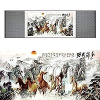 の中国の馬の絹の絵馬の芸術の絵絹の巻物の芸術の絵8頭の馬の絵-100cmx30cm_Green_package
