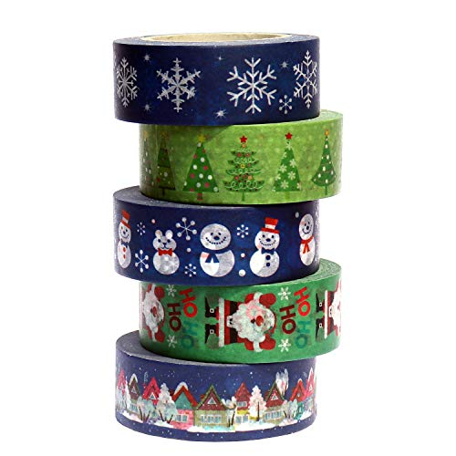 Christmas Washi Tape Set, 5 Rolls Winter Holiday Washi Masking Tape, 0.6' x 32.8ft Decorative Washi Tapes for Bullet Journal Scrapbook Planner Gift Wrapping