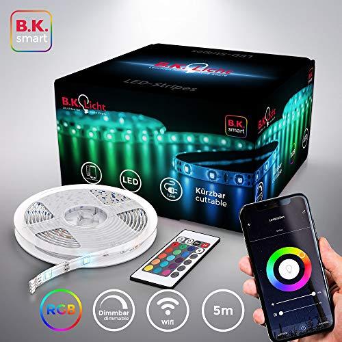 B.K.Licht I Smart LED Stripe 5 Meter I WiFi LED Band I App steuerbar I Sprachsteuerung Alexa und Google Assistant I Inkl. Fernbedienung I Silikonummantelt I iOS & Android I Selbstklebend I Weiß