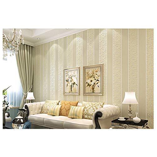 YAOHM Shimmer Damas rayé Papier Peint Chambre Moderne Texture gaufrée Mur Rouleau de Papier Décoration d'intérieur,Beige