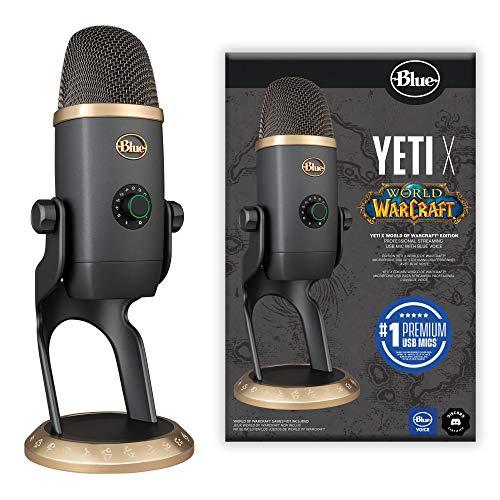Blue Yeti X World of Warcraft (WoW) Edition Professionelles Gaming Streaming USB Mikrofon mit Blue Voice-Effekten - Fortgeschrittene Sprachmodulation mit WoW-Voreinstellungen, Mac und PC - Grau/Gold