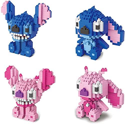 RSVT Mini Stitch Building Blocks Set De Personajes De Dibujos Animados Modelo Nano Blocks DIY Toys Regalos (Paquete De 4)