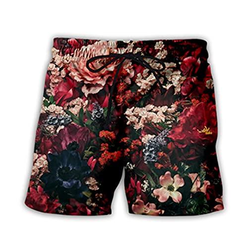 Pantalones Cortos de la Playa de los Hombres de los Hombres de la Flor de la Flor de la Flor de la Estampada 3D de Secado rápido as shown18 4XL