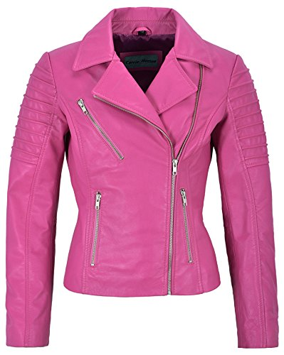 Jessica ALBA Fashion Designer Damen Lederjacke Soft Biker Style 9334 (16 for Bust 38