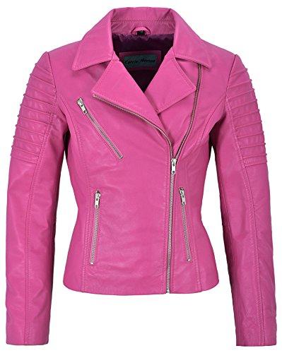 Jessica ALBA Fashion Designer Damen Lederjacke Soft Biker Style 9334 (16 for Bust 38