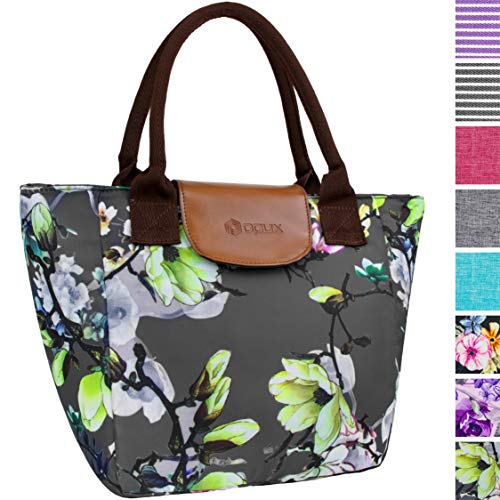 OPUX Insulated Lunch Bag for Women | Large Capacity Lunch Tote Purse for Ladies | Reusable Soft Lunch Box Organizer Cooler for School, Work, Office, Picnic | Fits 17 Cans (Floral Grey)