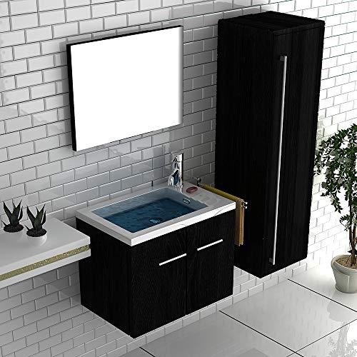 Waschplatz Praktischer Unterschrank mit Hochglanz-Front in Anthrazit