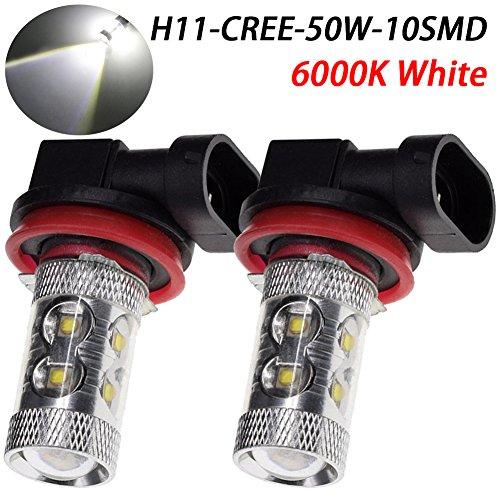 TABEN Lot de 2 ampoules LED H11 H8 50 W 12 V 50 W 10 LED 6500 K Lumière blanche pour voiture antibrouillard/conduite/stationnement/clignotant/feu arrière