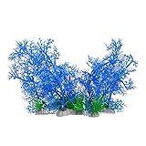 POPETPOP 5 Piezas Plantas de Acuario Artificial Planta de Acuario Simulada Modelo de Pasto Marino de Plástico para Escondite de Peces Decoración de Acuario Rnament Azul Blanco