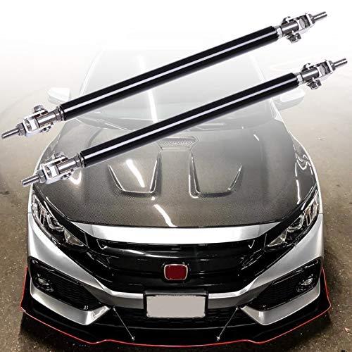 X AUTOHAUX 2pcs 150mm Adjustable Car Front Bumper Lip Lever Splitter Support Rod Blue Silver Tone