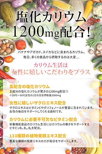 カリウム生活塩化カリウム1200mg配合ザクロ食物酵素赤ブドウ栄養機能食品(ビタミンB1ビタミンB2ビタミンB6)サプリメント