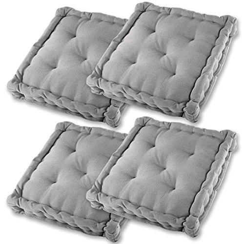 Gräfenstayn Set de 4 Cojines, Cojines para Silla de 40 x 40 x 8 cm para Interior y Exterior de 100% algodón cojín Acolchado/cojín para el Suelo (Gris)
