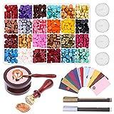 Siegelwachs Perlen 624 Stück Siegellack Perlen Wax Seal Stamp Set Wachssiegel Kit für Siegelstempel,Umschlag,DIY Hochzeitseinladung,Dankeschön Brief