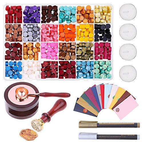 PAKASEPT perline di ceralacca, Kit Ceralacca con scatola + 4 candele da tè + 1 cucchiaio per ceralacca + timbro per sigillo per lettere con motivo casuale, 24 colori