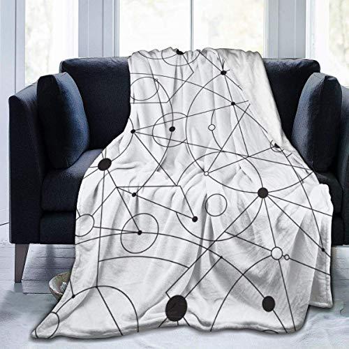 Kuscheldecke Flanell Flauschig Überwurf Mikrofaser Tagesdecke Nahtloses Gittermuster mit zufälliger Geometrie Fleecedecke ,Weich Sofadecke Für Bett Sofa Schlafzimmer Büro 150x125cm