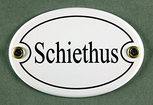Buddel-Bini Emaille Türschild Schiethus Weiss oval 7x10 cm Schild Toilette Kloschild Toilettenschild