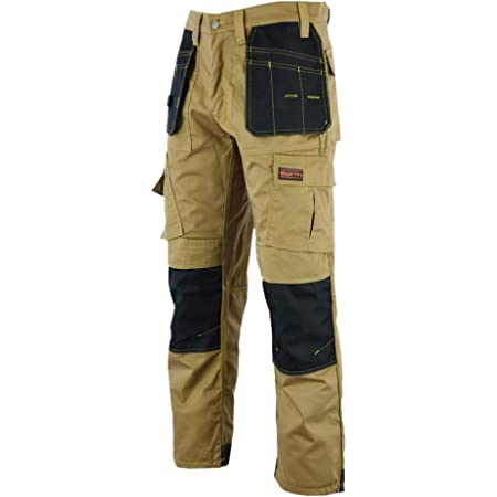 WrightFits Men Pro Builder Work Trousers Grey & Khaki - Heavy Duty Safety Combat Cargo Pant - Multi Pockets & Knee Pad Pockets - Triple Stitched -Durable Work wear