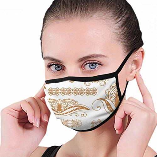 Henna Tattoo Mehndi Flower Template Nature Objects Mouth Mask, Unisex Adult Ear Loop Face Mask, Anti Dust Warm Ski Cycling Safety K-Pop Fashion Mask Various Use With Adjustable Ear Loops For Women Man