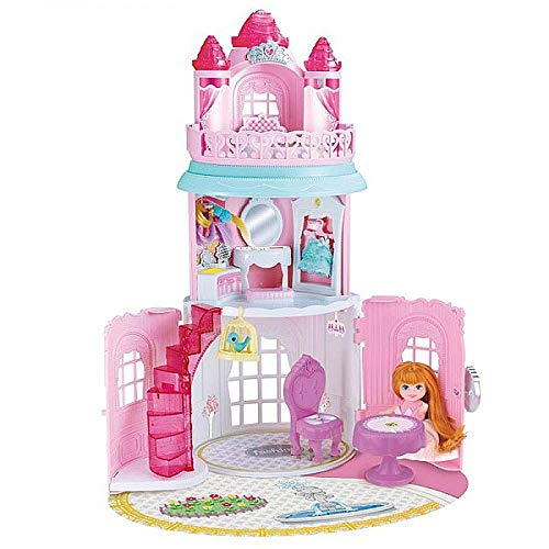 Brigamo Prinzessin Schloß Surprise Puppenhaus mit 3 Stockwerken zum aufklappen mit Minipuppe