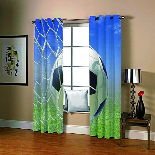 BSZHCT Blickdicht Gardinen mit Ösen 150x166 cm Lichtundurchlässig Verdunkelungsvorhänge für Wohnzimmer, Schlafzimmer und Kinderzimmer Moderner Digitaldruck 3D - Fußball