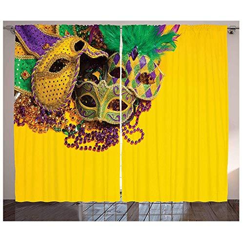 MUXIAND Mardi Gras keukengordijnen feestelijke en kleurrijke groep van Venetiaanse carnaval maskers en accessoires raamdecoratie paneel