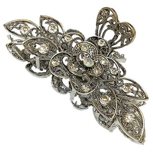 Big Punk Vintage Pince à cheveux en métal multicouche Fleur Accessoires pour femme Fille Bain