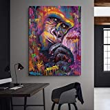 HGlSG Animal Canvas Painting Gorilla Graffiti Art Wall Prints Poster Abstract Art Monkey Wall Pictures para la Sala de Estar A4 70X100cm